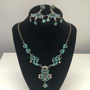 Turquoise costume necklace and earrings